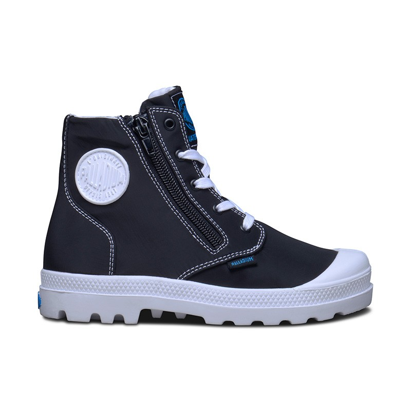 Palladium Pampa Puddle Zip WP (Little Kids) in Black/White