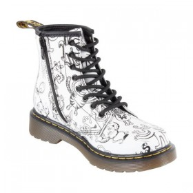 Dr. Martens Kids Delaney in White Wigan Wiggy World Softy T