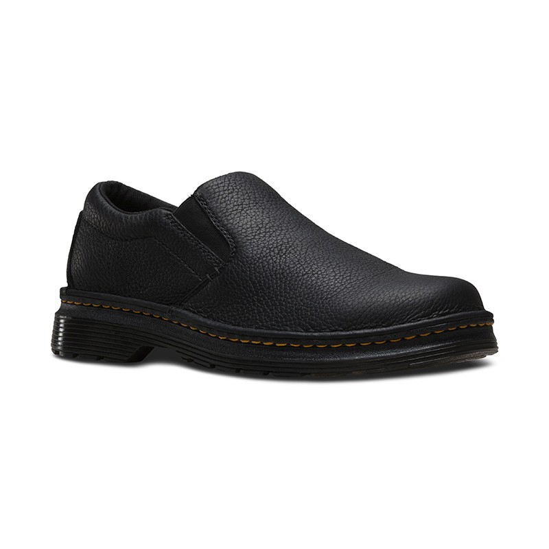 Dr. Martens Boyle Men's Grizzly Leather Slip On Shoes in Black Grizzly