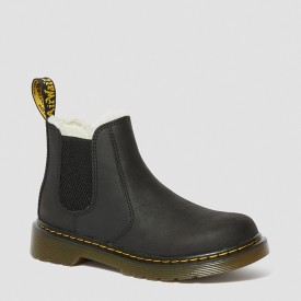 Dr. Martens Junior Fur-Lined 2976 Leonore Chelsea Boots in Black Mohawk